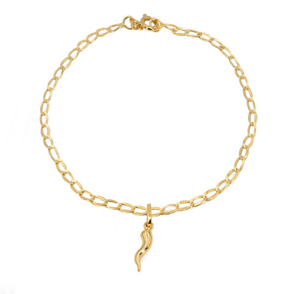 18kt yellow gold man woman bracelet with yellow gold horn horn pendant