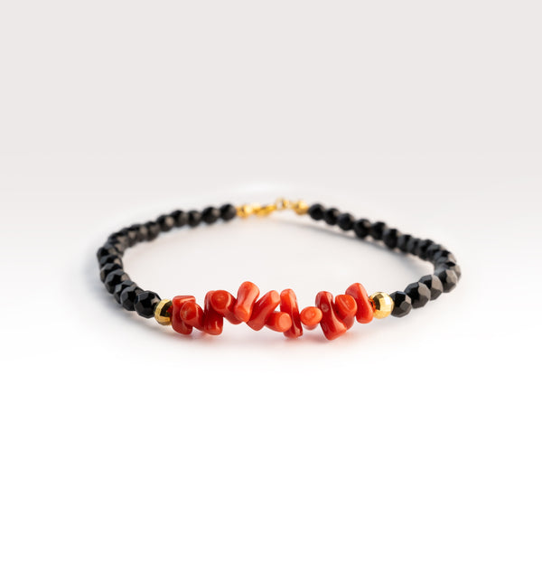 925 silver bracelet with black spinel and natural red coral