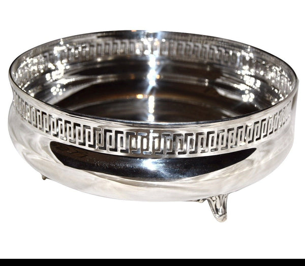 Centerpiece bowl in shiny 800 silver with special border 486gr wedding gift