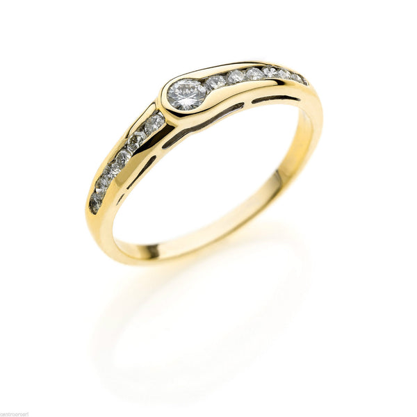Woman Ring Solitaire Engagement Yellow Gold 18kt 750 diamonds 0.35ct