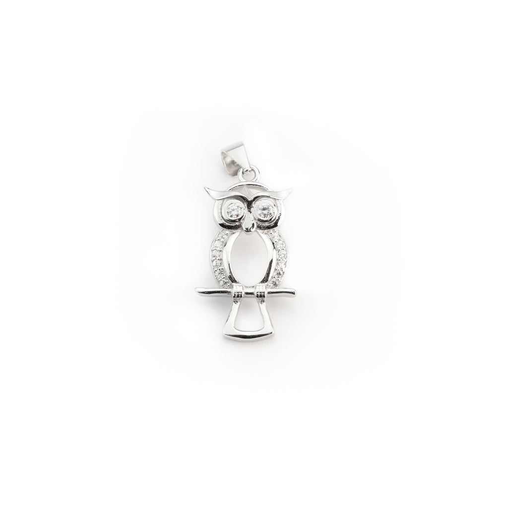 pendant man woman owl owl 925 silver and white zircons