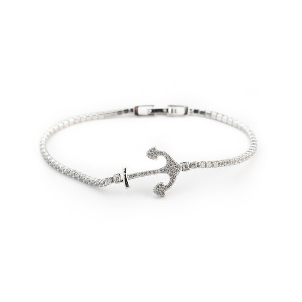 Women's Tennis Bracelet Man's claw in 925 silver and white zircons and central still