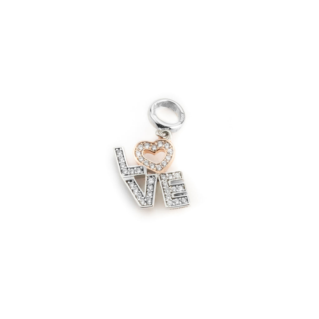 Charm pendant woman love in white and pink 925 silver with white zircons