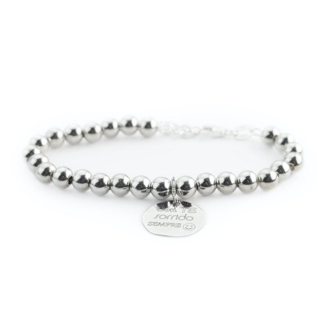 "Bracelet Man Woman Balls 4mm Silver 925 ""With you I always smile"""