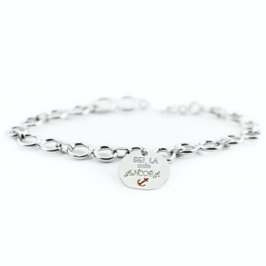 "Bracelet man woman circles 4mm 925 silver charm ""you are my anchor"""