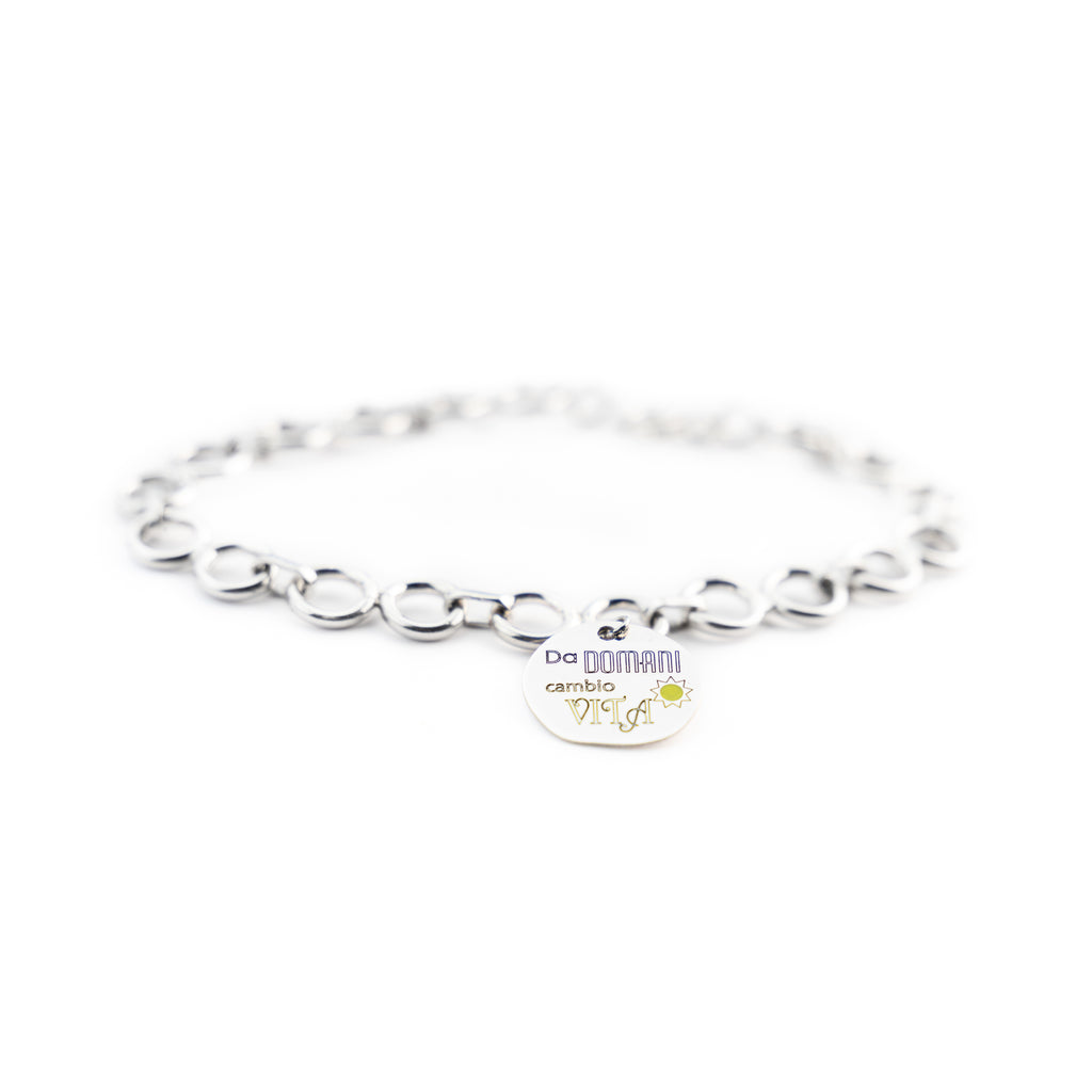 "Bracelet man woman circles 4mm 925 silver charm ""From tomorrow I change my life"""