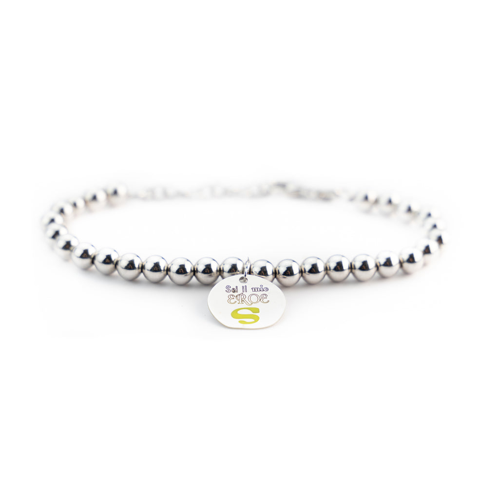 "Bracelet Man Woman Balls 4mm Silver 925 ""You are my Hero"""