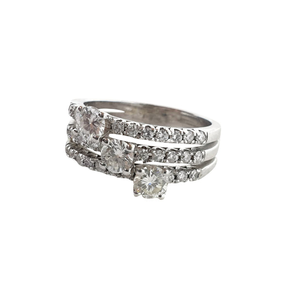 Trilogy 0.75ct ring and 0.30ct diamond contour white gold 18kt 750