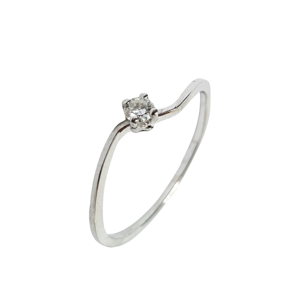 White Gold Engagement Solitaire Ring 18kt (750 / 000) 0,09CT H VVS Diamond