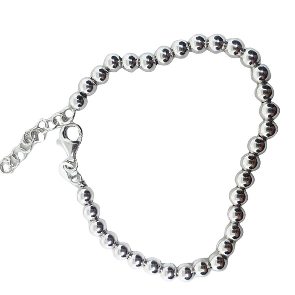 Man Woman Bracelet 5mm Spheres in Silver 925