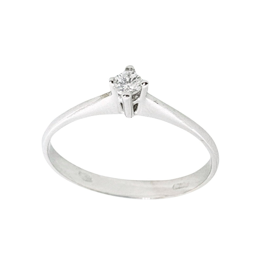 Solitaire White Gold Engagement Ring 18kt (750 / 000) 0,10CT F VVS Diamond - LUPPINO GIOIELLI SRLS