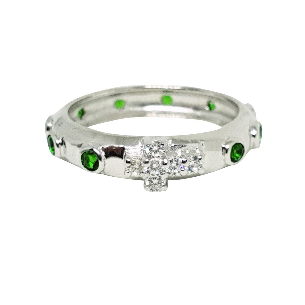 925 Silver rosary ring with white and green zircons - LUPPINO GIOIELLI SRLS