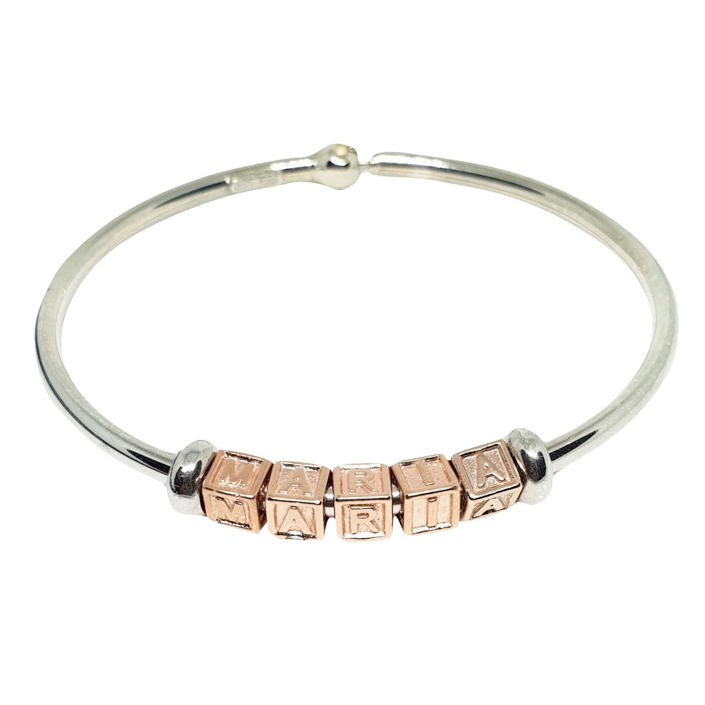 Bracelet Name Maria Rigido Silver 925 Pink and White - LUPPINO GIOIELLI SRLS