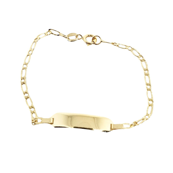 Bimbo Bracelet - Yellow Gold Girl 18kt 750 / 000 with Central Plate - free engraving Date and Name - LUPPINO GIOIELLI SRLS
