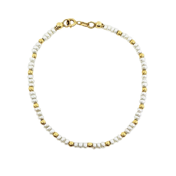Bracelet Woman Yellow Gold 18kt 750 with Freshwater pearls 2,5 - 3mm - LUPPINO GIOIELLI SRLS