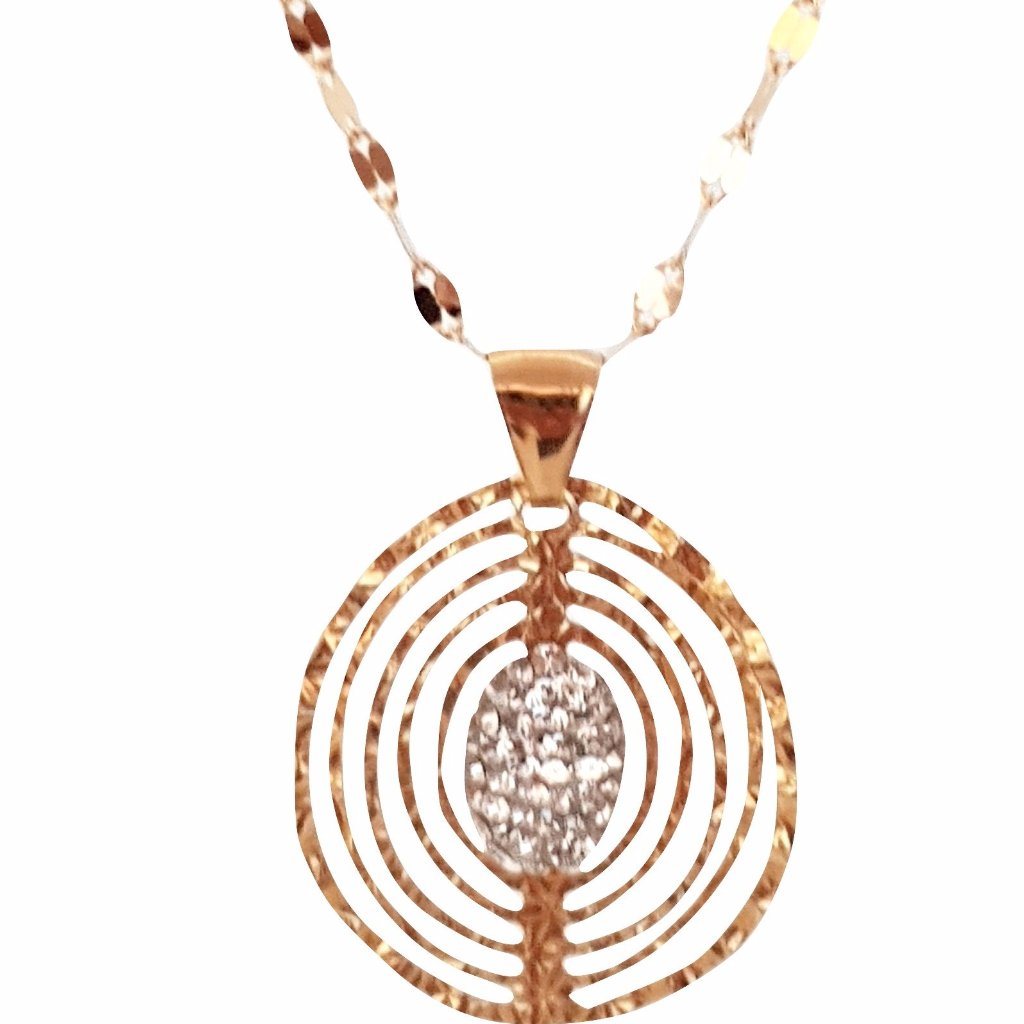 Leaflet Necklace and Pendant in Yellow Gold 18kt 750 / 000 and Cubic Zirconia - LUPPINO GIOIELLI SRLS