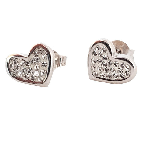 White Gold Heart Earrings 18KT 750 / 0000 With Cubic Zirconia - LUPPINO GIOIELLI SRLS
