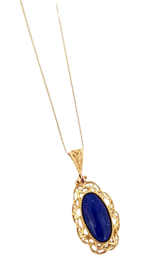 80 cm Long Necklace and Pendant in Yellow Gold 18kt 750 / 000 with Lapis Lazuli - LUPPINO GIOIELLI SRLS