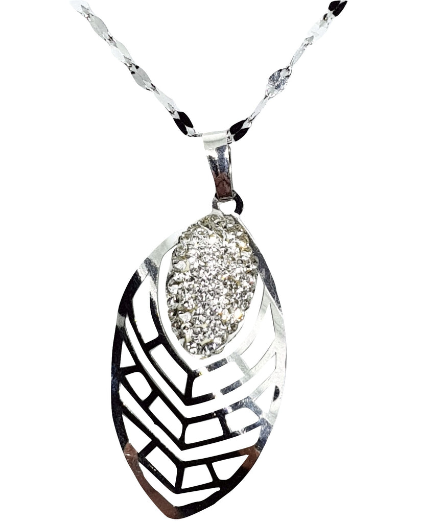 Leaflet and Leaf Pendant in White Gold 18kt 750 / 000 and Cubic Zirconia - LUPPINO GIOIELLI SRLS