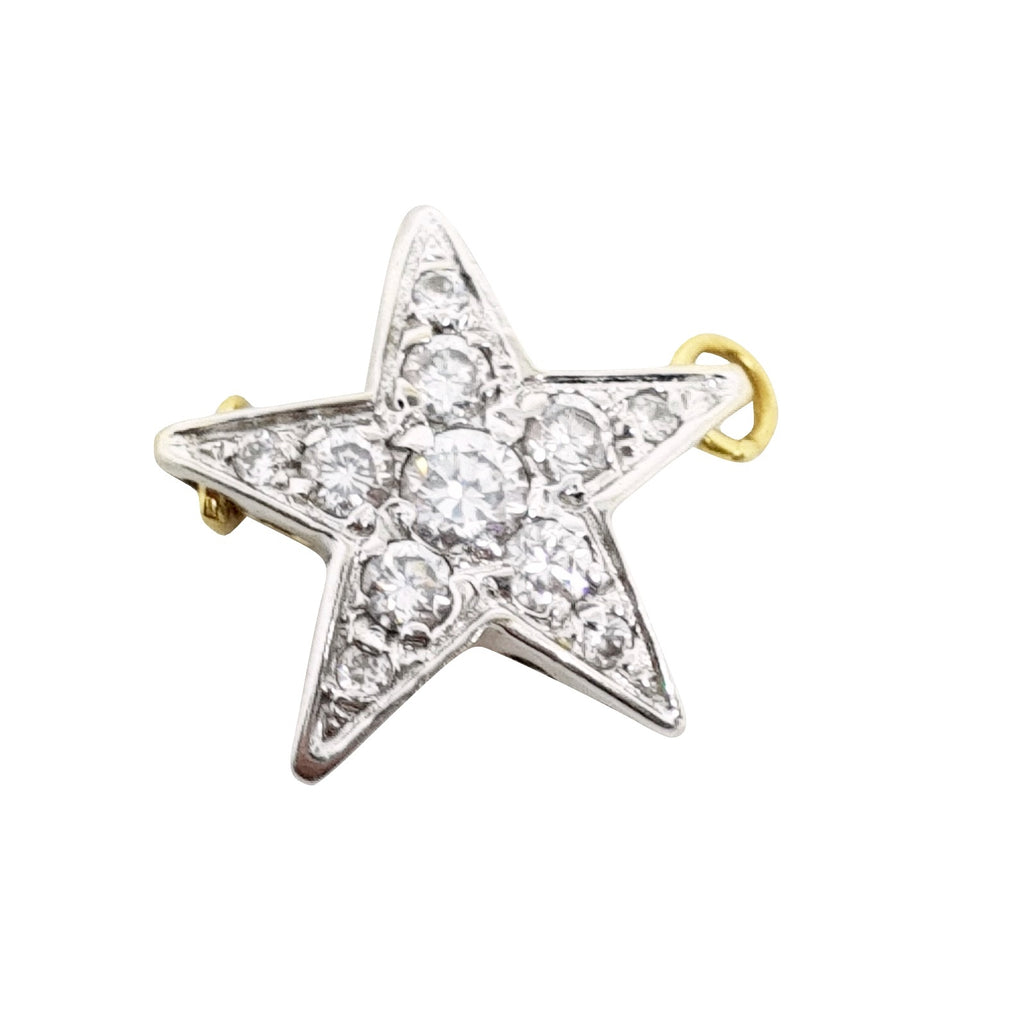 Yellow and White Gold Star Pendant 18kt 750 / 000 with White Cubic Zirconia - LUPPINO GIOIELLI SRLS