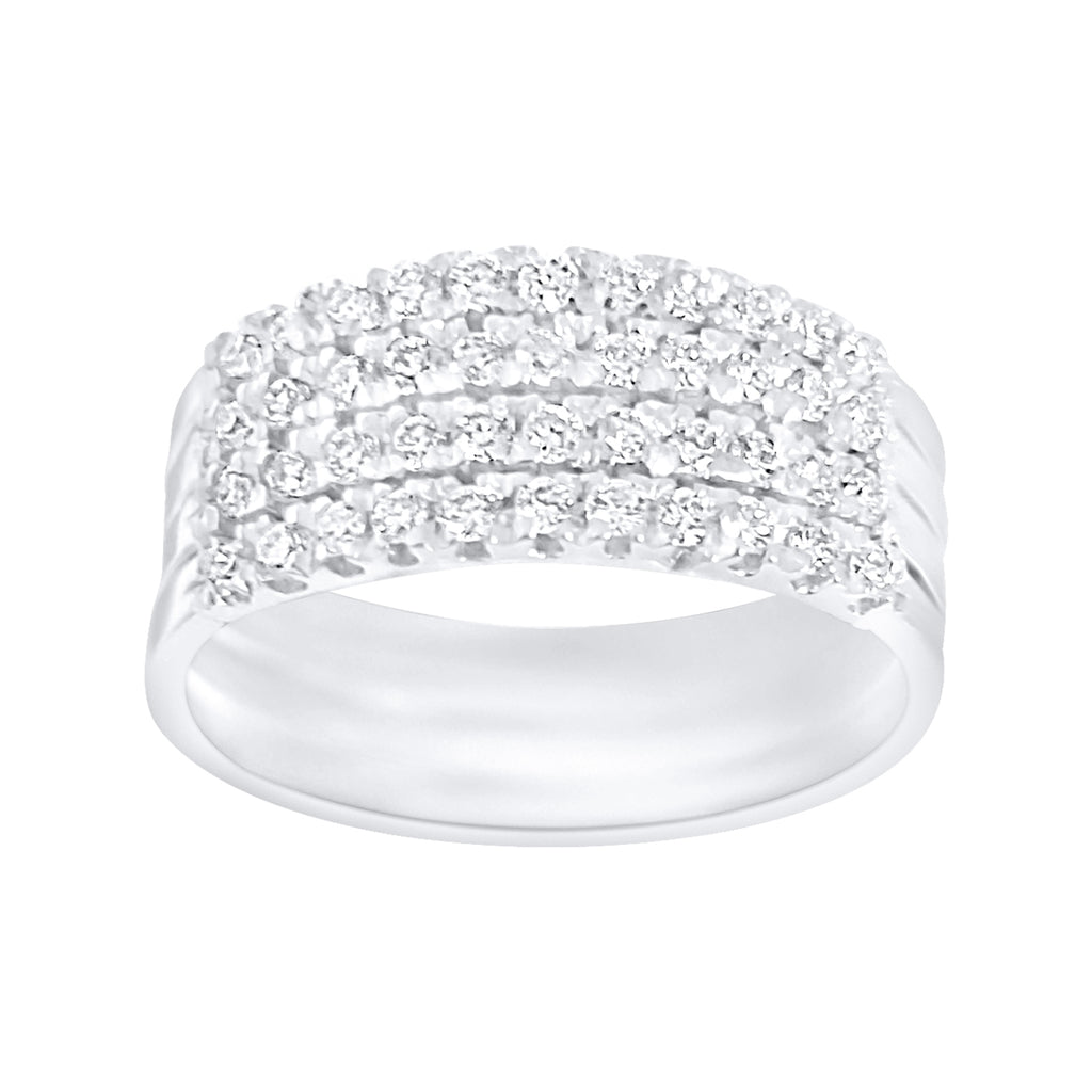 Diamonds band ring in 18kt 750 white gold with diamonds 0.50ct FG VVS