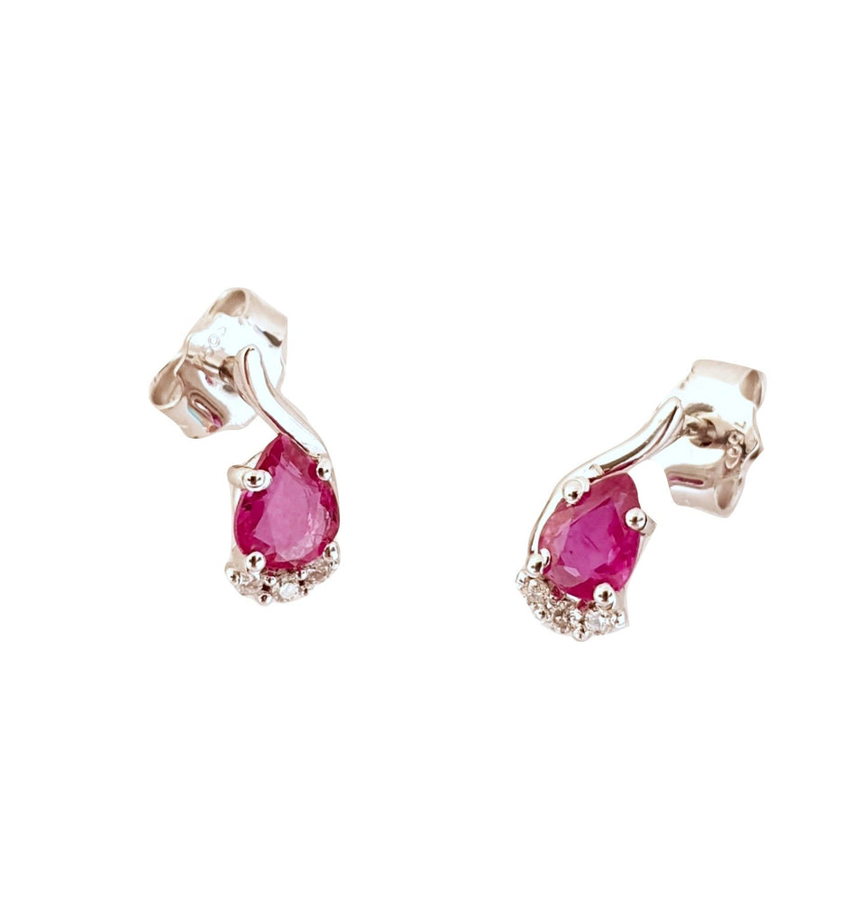 18K 750 / 000 white gold earrings with 0.50ct Rubies and 0,06ct Diamonds