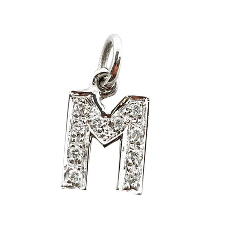 Initial Pendant Letter M White Gold 18kt 750 / 000 and Diamonds 0,08ct - LUPPINO GIOIELLI SRLS