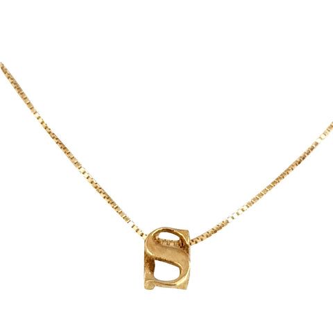 18kt 750 Yellow Gold Necklace with Initial Pendant S - LUPPINO GIOIELLI SRLS