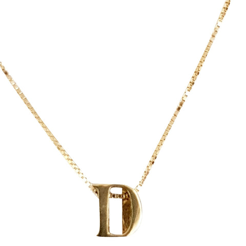 18kt 750 Yellow Gold Necklace with Initial Pendant D - LUPPINO GIOIELLI SRLS