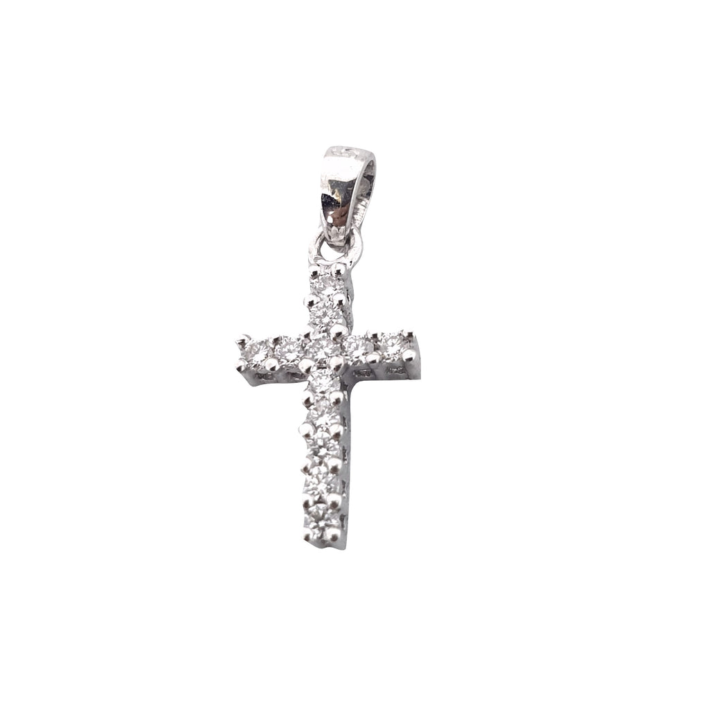 Cross pendant man woman white gold 18kt 750 / 000 with diamonds 0.25ct f vvs