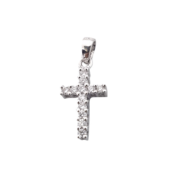 18kt 750 / 000 White Gold Cross Pendant with Diamonds 0.25ct f vvs