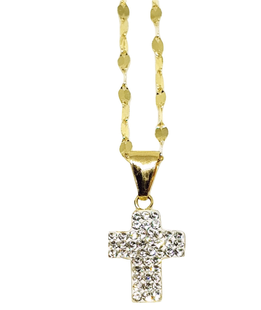 Yellow Gold Leaf Necklace 18kt 750 and Cross Pendant with White Cubic Zirconia