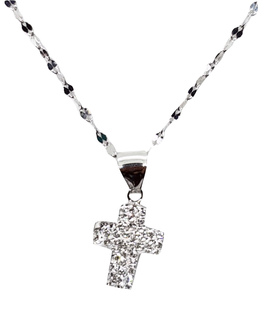 White Gold Leaf Necklace 18kt 750 and Cross Pendant with White Cubic Zirconia