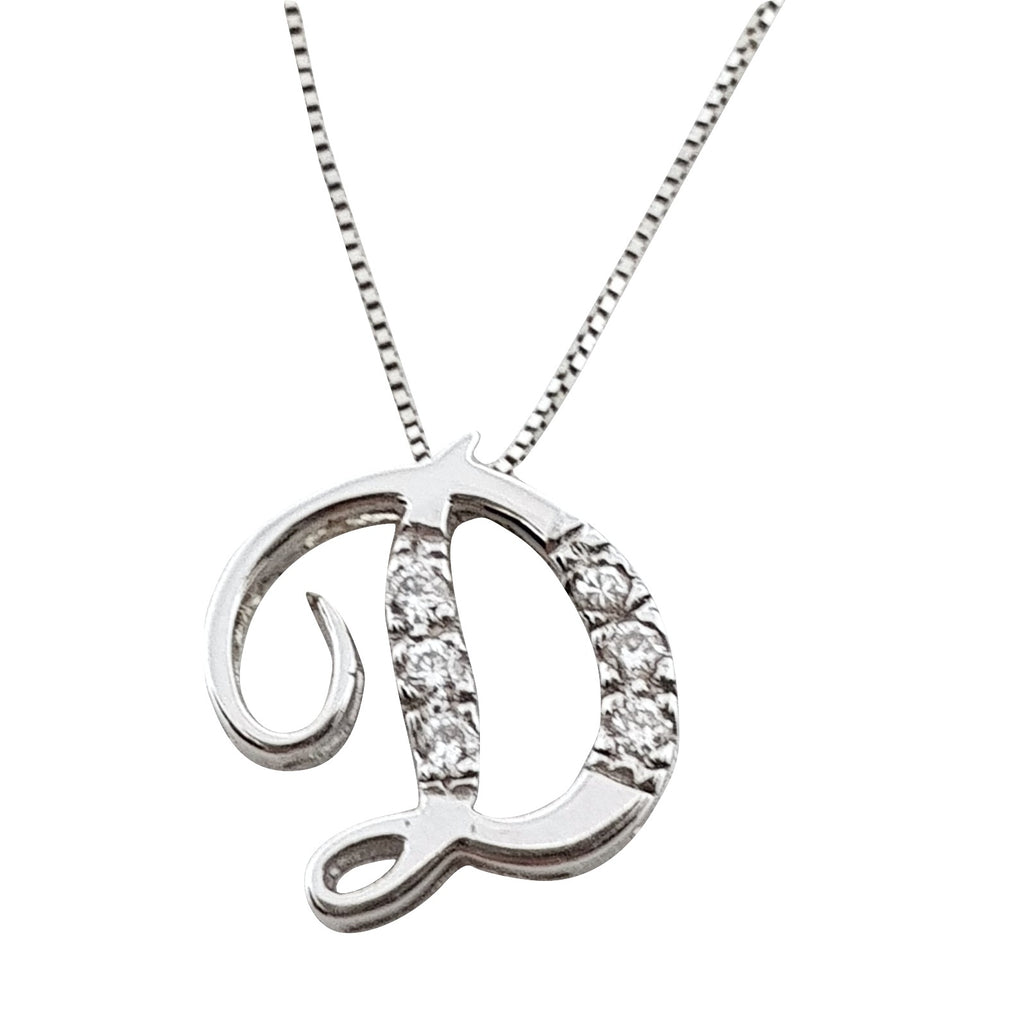 Necklace with Initial Pendant Letter D in White Gold 18kt 750 with Diamonds 0,06ct F VVS