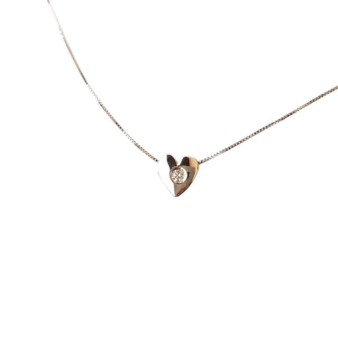 Necklace Point Light Heart White Gold 18kt 750 with Natural Diamond 0,03CT F VVS - LUPPINO GIOIELLI SRLS