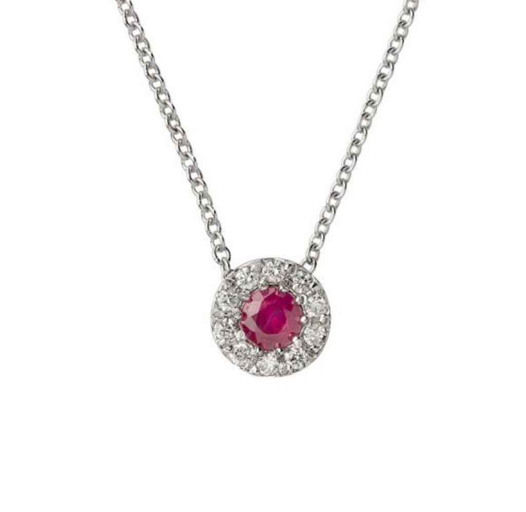 18kt white gold woman necklace 750 with 0,08ct and ruby ​​0,20ct diamonds