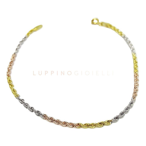 Yellow and Pink Gold Rope Bracelet 18kt 750 / 000 - LUPPINO GIOIELLI SRLS