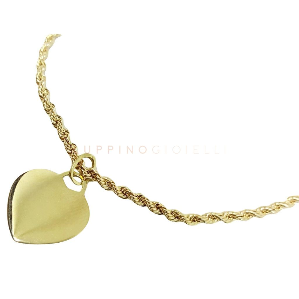 Yellow gold bracelet 18kt 750 / 000 with pendant CUORE - LUPPINO GIOIELLI SRLS