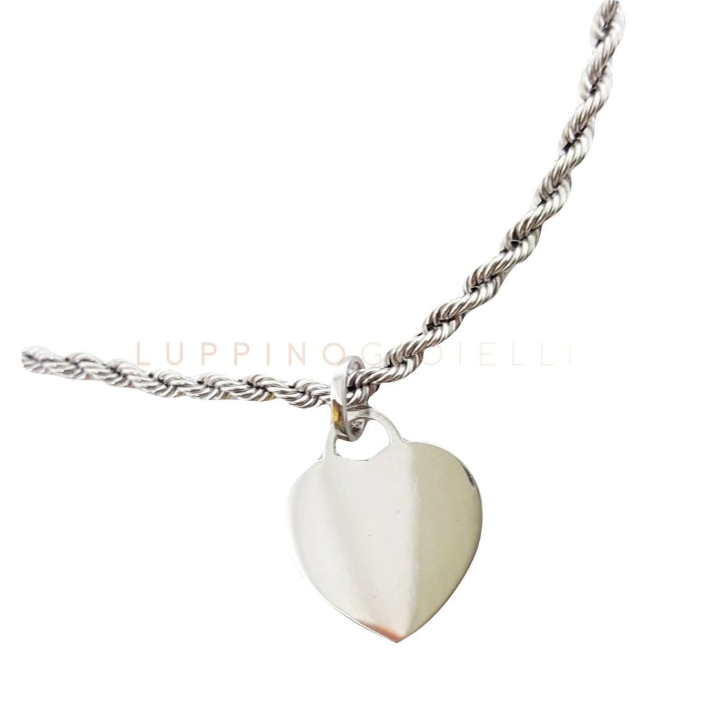 Gold bracelet 18kt WHITE 750 / 000 with pendant HEART 2,50 GR - LETTER INCISA FREE - LUPPINO GIOIELLI SRLS