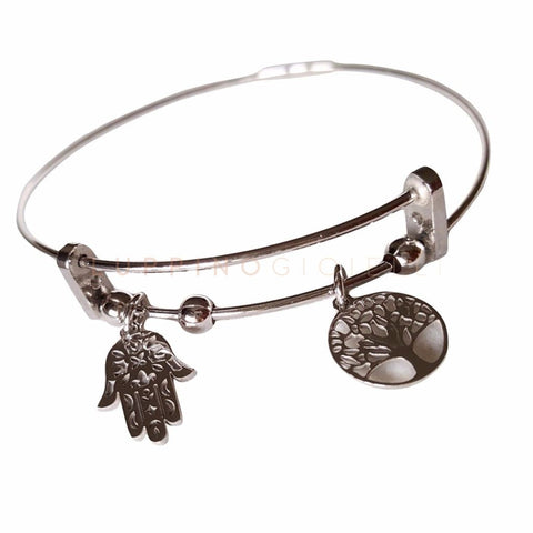 Rigid Silver Bracelet 925 Rhodium - Hand of Fatima and Tree of Life - LUPPINO GIOIELLI SRLS