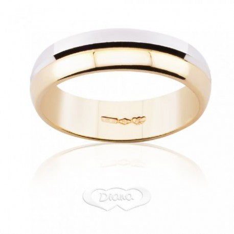 Wedding Ring DIANA Bicolore 6 grams Large 5,8mm Yellow Gold and White 18ct 750 - LUPPINO GIOIELLI SRLS