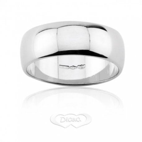Wedding Ring DIANA Mantovana 8,60 grams Large 7mm White Gold 18ct 750 - LUPPINO GIOIELLI SRLS