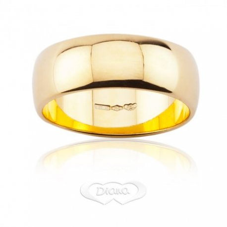 Wedding Ring DIANA Mantovana 8,60 grams Large 7mm Yellow Gold 18ct 750 - LUPPINO GIOIELLI SRLS