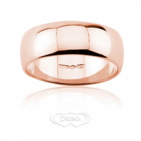 Wedding Ring DIANA Mantovana 8,60 grams Large 7mm Rose Gold 18ct 750 - LUPPINO GIOIELLI SRLS