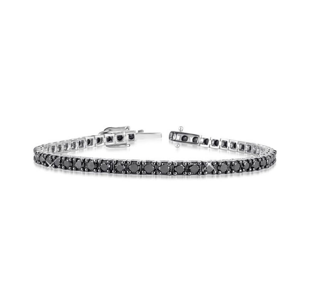 18ct 750 and 4,80 ct white gold tennis bracelet with black diamonds