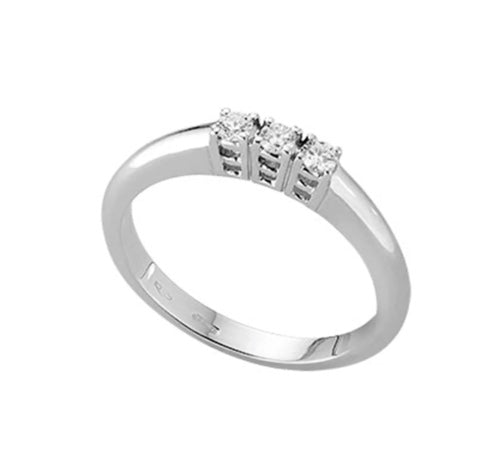 Gold Trilogy Engagement Ring 18kt 750 Natural Diamonds 0,20CT F VS