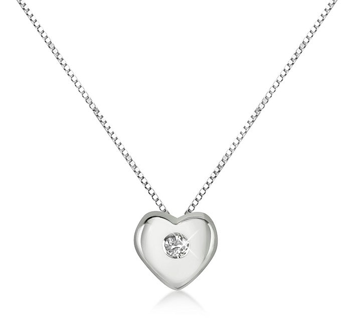 Necklace Point Light Heart White Gold 18kt 750 with Natural Diamond 0,03CT F VVS