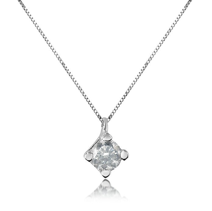 18kt 750 White Gold Point Light Necklace with 0.12ct G VVS Diamond