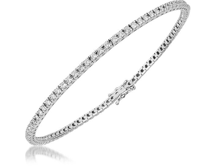 Bracciale Tennis in oro Bianco 18k con 1,00ct di diamanti G H  VS