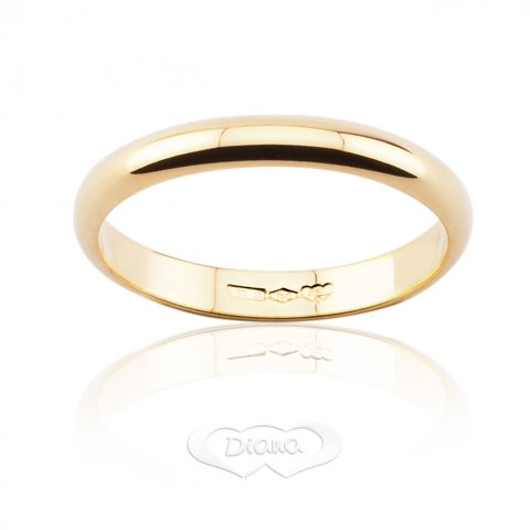 Trauring DIANA Classica 3 Gramm Schmales Band Gelbgold 18ct 750 - LUPPINO GIOIELLI SRL